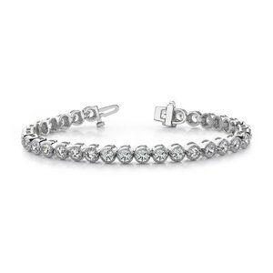 Four prong setting round diamond ladies bracelet w